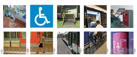 Different photographs illustrating accessibility in the public transport in Madrid