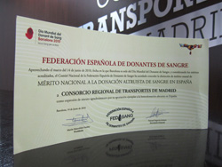 Award to National Merit for altruistic blood donation