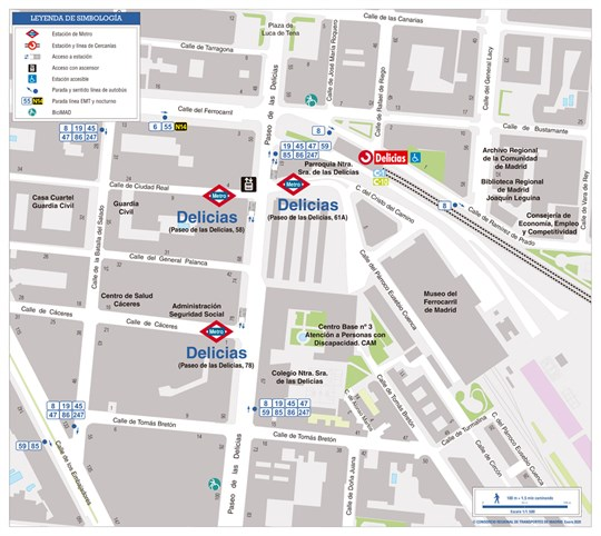 Delicias station zonal map