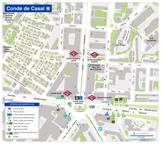 Zonal map of Conde de Casal station