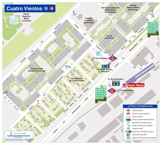 Zonal map of Cuatro Vientos station